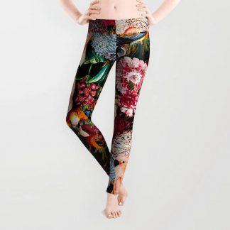 Floral and Animals pattern II Leggings by Burcu Korkmazyurek