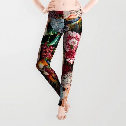 Floral and Animals pattern II Leggings by Burcu Korkmazyurek